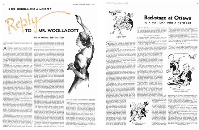 Article Preview: IS THE SCHOOL-MARM A MENACE? Reply TO MR. WOOLLACOTT, January 1937 | Maclean's