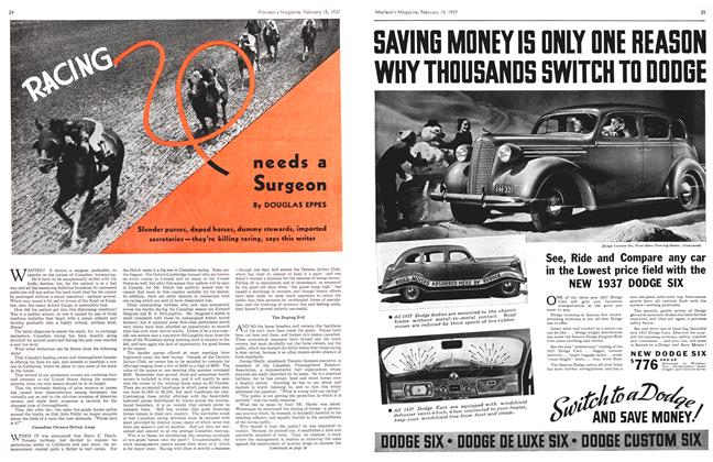 Article Preview: RACING needs a Surgeon, February 1937 | Maclean's