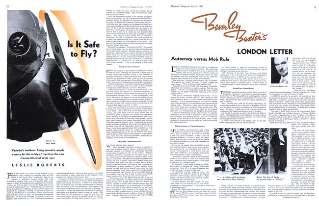 Article Preview: Is It Safe to Fly?, JULY 15th, 1937 1937 | Maclean's