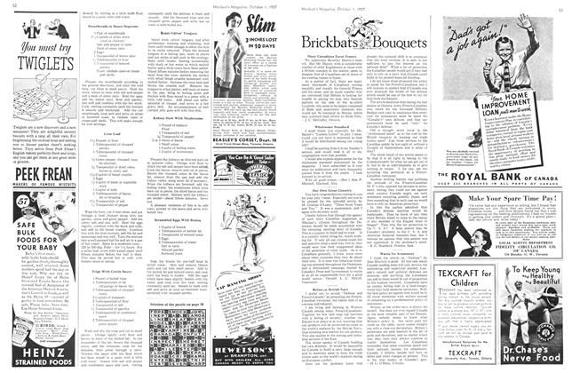 Article Preview: Brickbats and BOUQUETS, October 1937 | Maclean's
