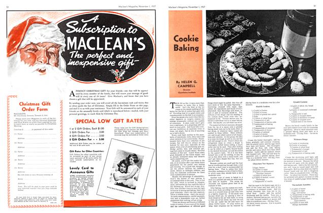 Article Preview: Cookie Baking, November 1937 | Maclean's