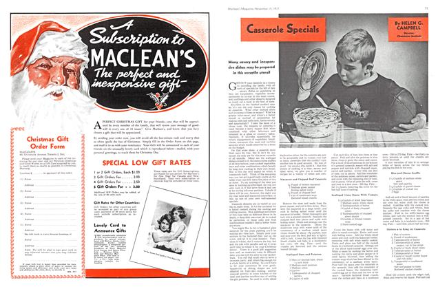 Article Preview: Casserole Specials, November 1937 | Maclean's