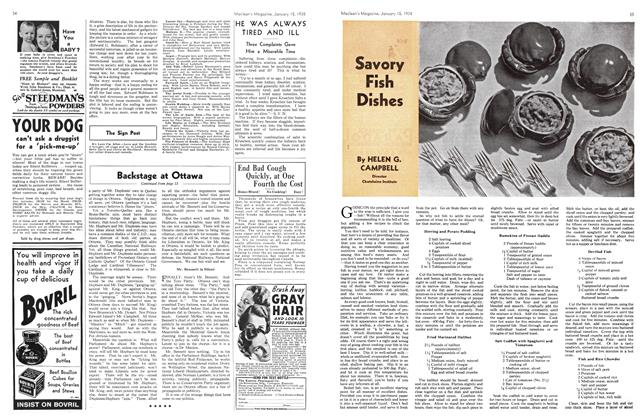 Article Preview: Savory Fish Dishes, January 1938 | Maclean's