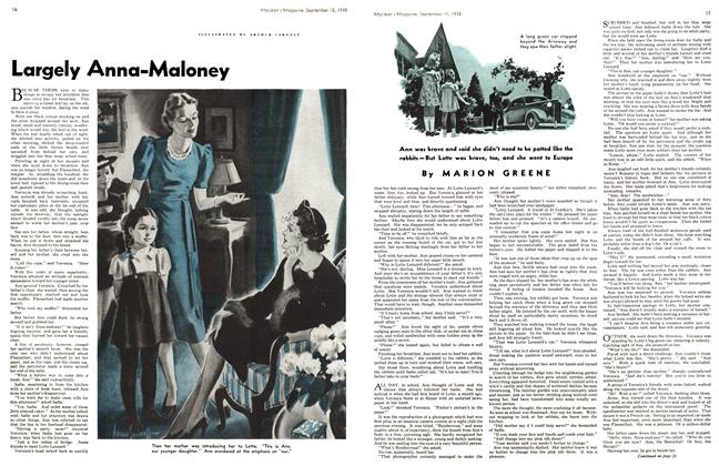 Article Preview: Largely Anna-Maloney, SEPT. 15. 1938 1938 | Maclean's