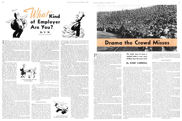 Article Preview: Drama the Crowd Misses, November 1938 | Maclean's
