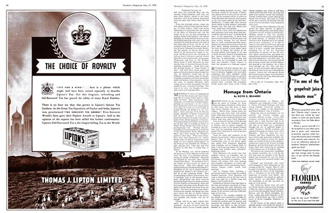 Article Preview: Homage from Ontario, May 1939 | Maclean's