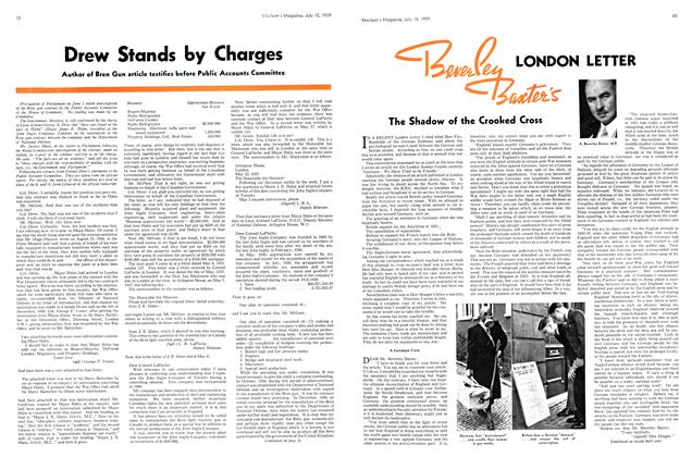 Article Preview: Drew Stands by Charges, July 1939 | Maclean's