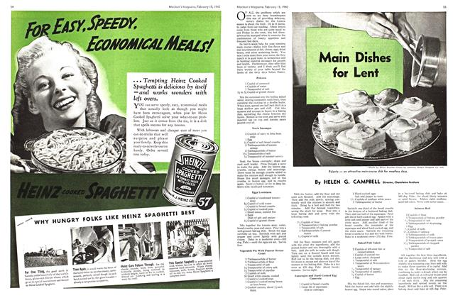 Article Preview: Main Dishes for Lent, February 1940   Maclean's
