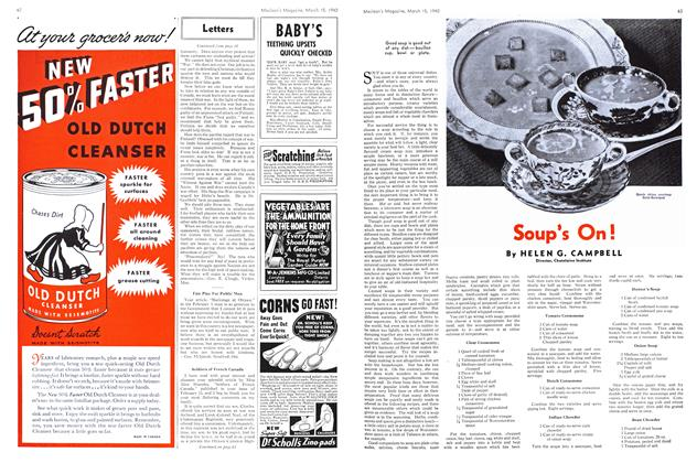 Article Preview: Soup's On!, March 1940 | Maclean's
