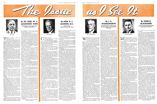 Article Preview: The Issue as I See It, March 1940 | Maclean's