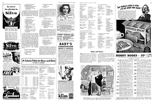 Article Preview: A Calorie Table for Boys and Girls, April 1940   Maclean's