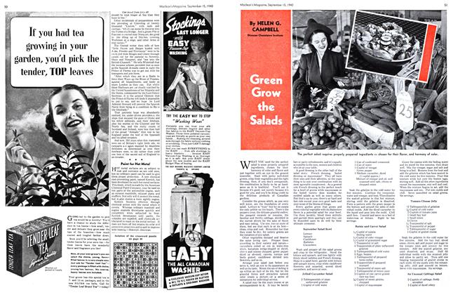 Article Preview: Green Grow the Salads, September 1940 | Maclean's