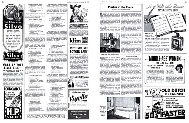 Article Preview: Plastics in the Home, September 1940 | Maclean's