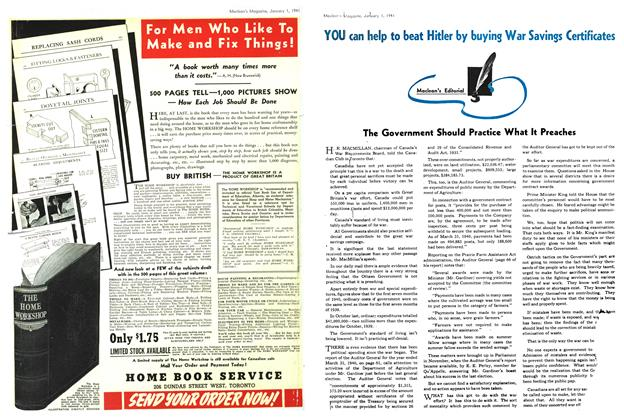 Article Preview: The Government Should Practice What It Preaches, January 1941 | Maclean's