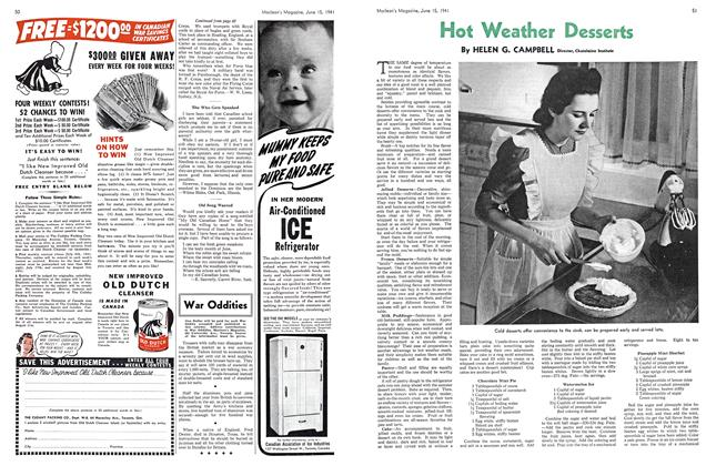Article Preview: Hot Weather Desserts, June 1941 | Maclean's