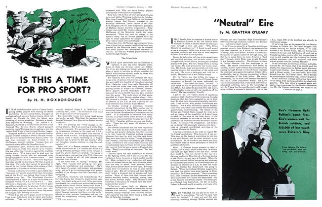 Article Preview: IS THIS A TIME FOR PRO SPORT?, January 1942 | Maclean's