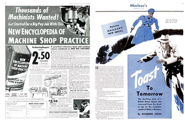 Article Preview: Toast To Tomorrow, TORONTO JANUARY 15 1942 1942 | Maclean's