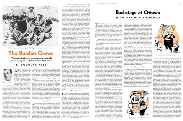 Article Preview: The Burden Grows, TORONTO JANUARY 15 1942 1942 | Maclean's