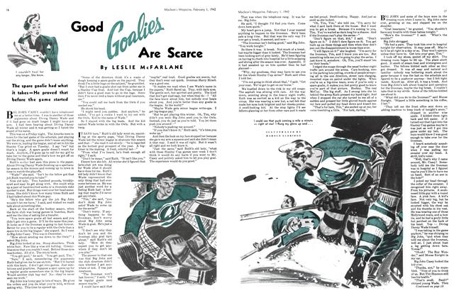 Article Preview: Good Goalies Are Scarce, February 1942 | Maclean's