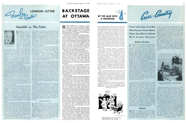 Article Preview: BACKSTAGE AT OTTAWA, February 1942 | Maclean's