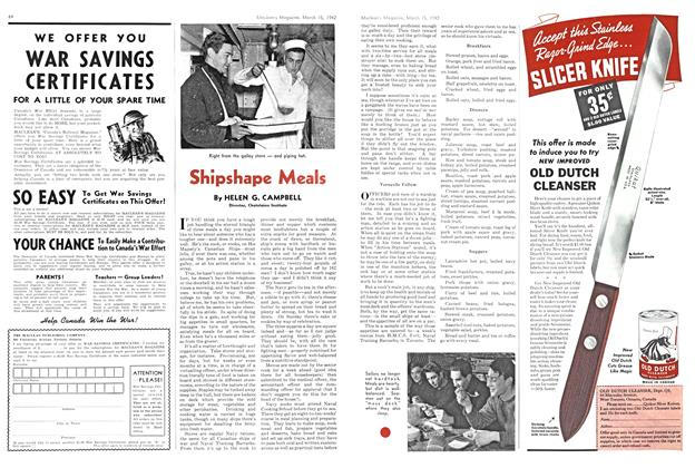 Article Preview: Shipshape Meals, March 1942 | Maclean's