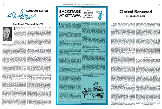Article Preview: BACKSTAGE AT OTTAWA, April 1942 | Maclean's