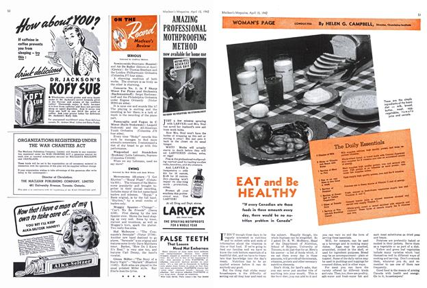 Article Preview: EAT and Be HEALTHY, April 1942 | Maclean's