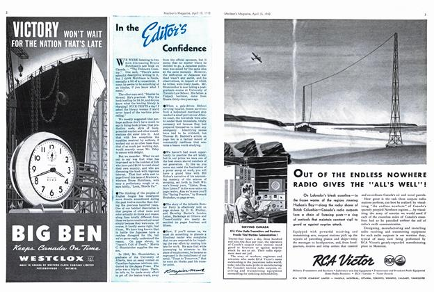 Article Preview: In the Editor's Confidence, April 1942 | Maclean's