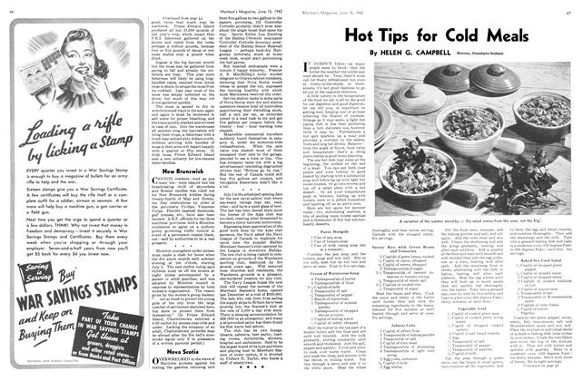 Article Preview: Hot Tips for Cold Meals, June 1942 | Maclean's