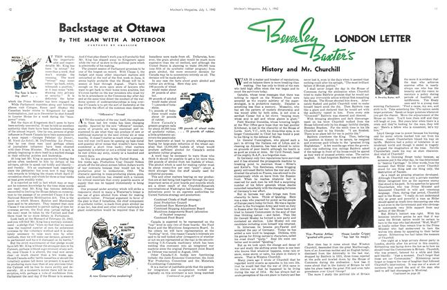 Article Preview: Beverley Baxter's LONDON LETTER History and Mr. Churchill, July 1942 | Maclean's