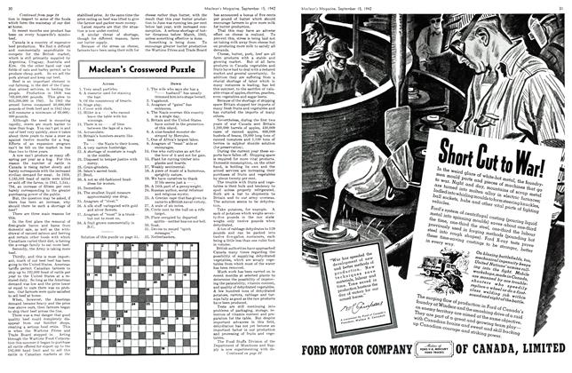 Article Preview: Maclean's Crossword Puzzle, September 1942 | Maclean's