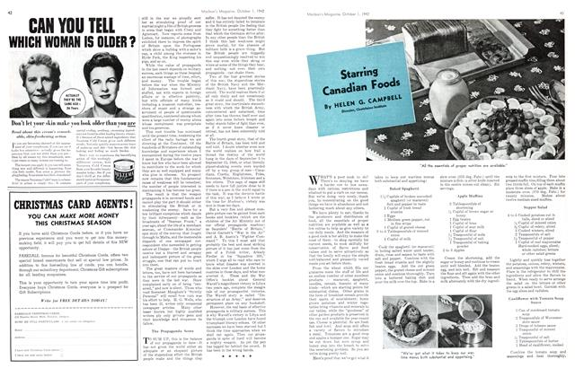 Article Preview: Starring Canadian Foods, October 1942 | Maclean's