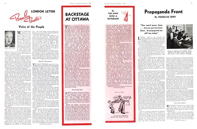 Article Preview: BACKSTAGE AT OTTAWA, October 1942 | Maclean's