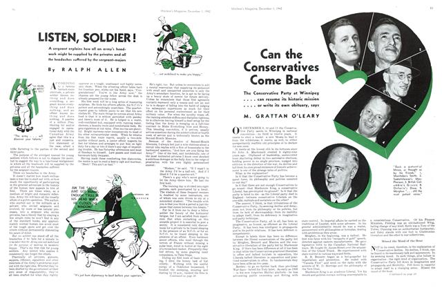 Article Preview: LISTEN, SOLDIER !, December 1942 | Maclean's