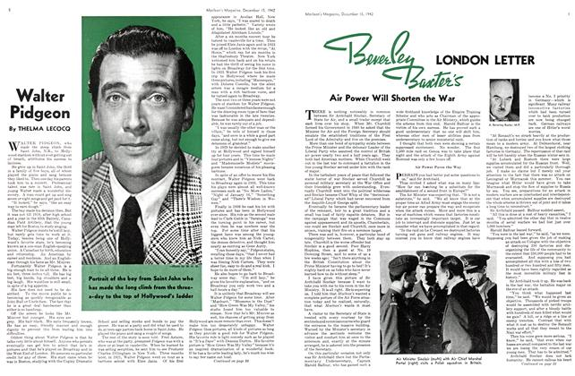 Article Preview: Walter Pidgeon, TORONTO DECEMBER 15 1942 1942 | Maclean's