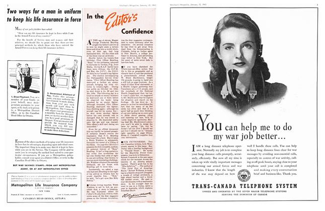 Article Preview: In the Editor's Confidence, January 1943 | Maclean's