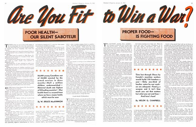 Article Preview: PROPER FOODIS FIGHTING FOOD, January 1943 | Maclean's
