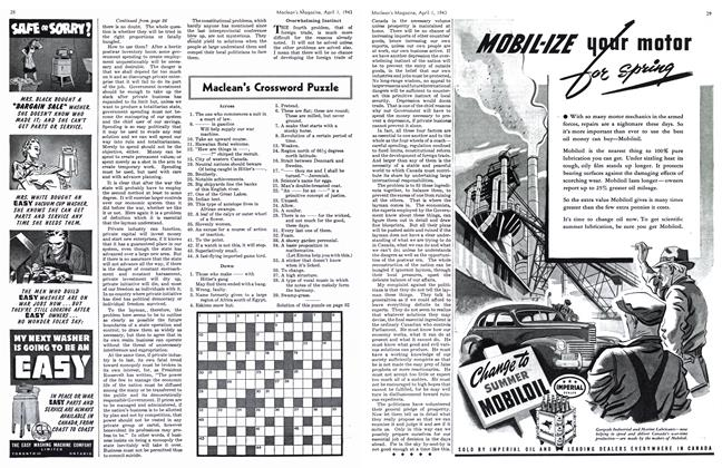 Article Preview: Maclean's Crossword Puzzle, April 1943 | Maclean's