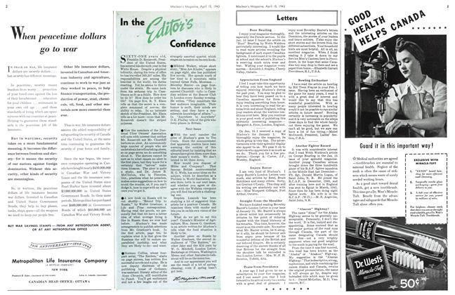 Article Preview: In the Editor's Confidence, April 1943 | Maclean's