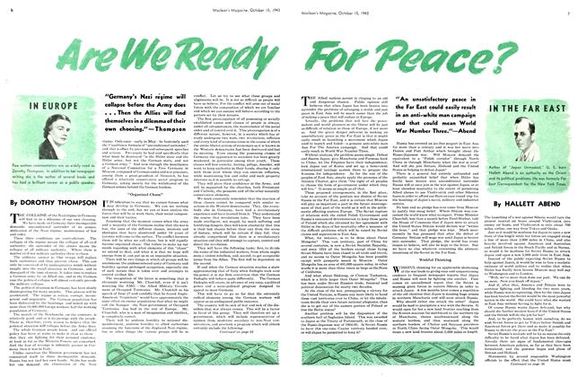 Article Preview: Are We Ready For Peace?, October 1943 | Maclean's