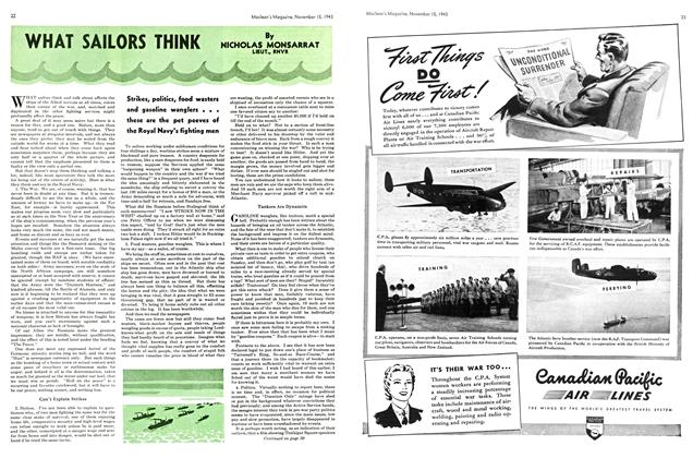 Article Preview: WHAT SAILORS THINK, November 1943 | Maclean's