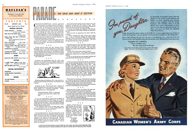 Article Preview: PARADE THE GRIN AND BARE IT SECTION, January 1944 | Maclean's