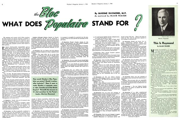 Article Preview: the Bloc WHAT DOES Populaire STAND FOR ?, January 1944 | Maclean's