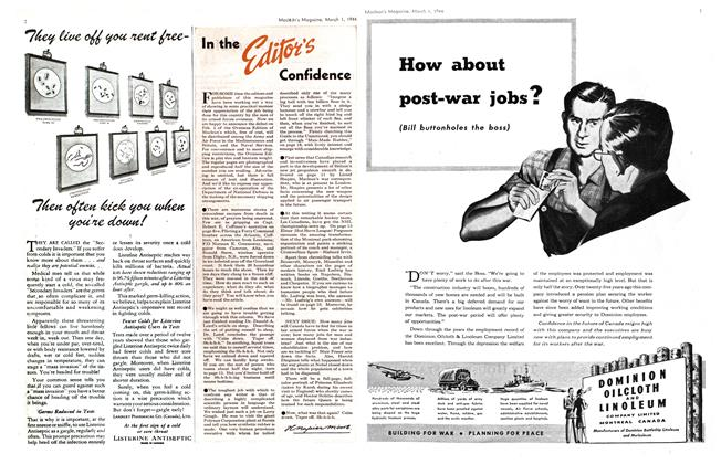 Article Preview: In the Editor's Confidence, March 1944 | Maclean's