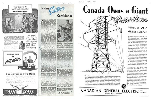 Article Preview: In the Editor's Confidence, August 1944 | Maclean's