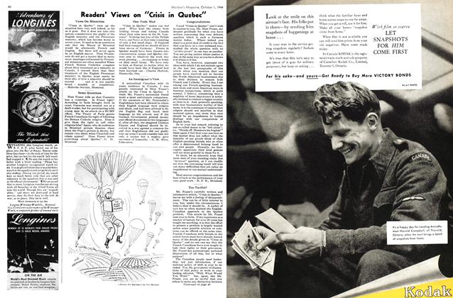 "Article Preview: Readers's Views on ""Crisis in Quebec"", October 1944 