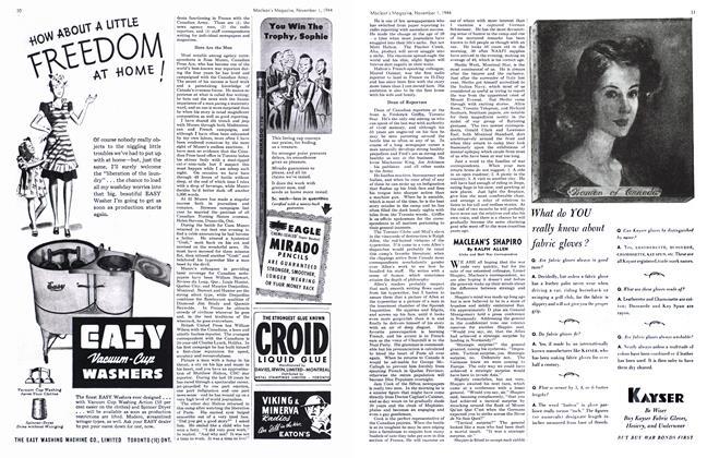 Article Preview: MACLEAN'S SHAPIRO, November 1944 | Maclean's