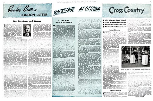 Article Preview: BACKSTAGE AT OTTAWA, December 1944   Maclean's
