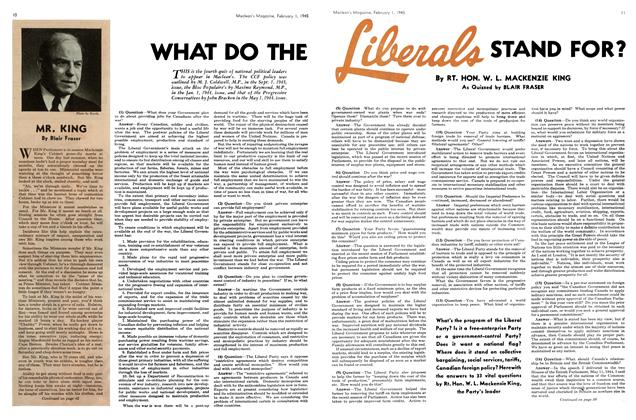 Article Preview: WHAT DO THE Liberals STAND FOR?, February 1945 | Maclean's