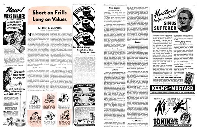 Article Preview: Short on Frills Long on Values, February 1945 | Maclean's